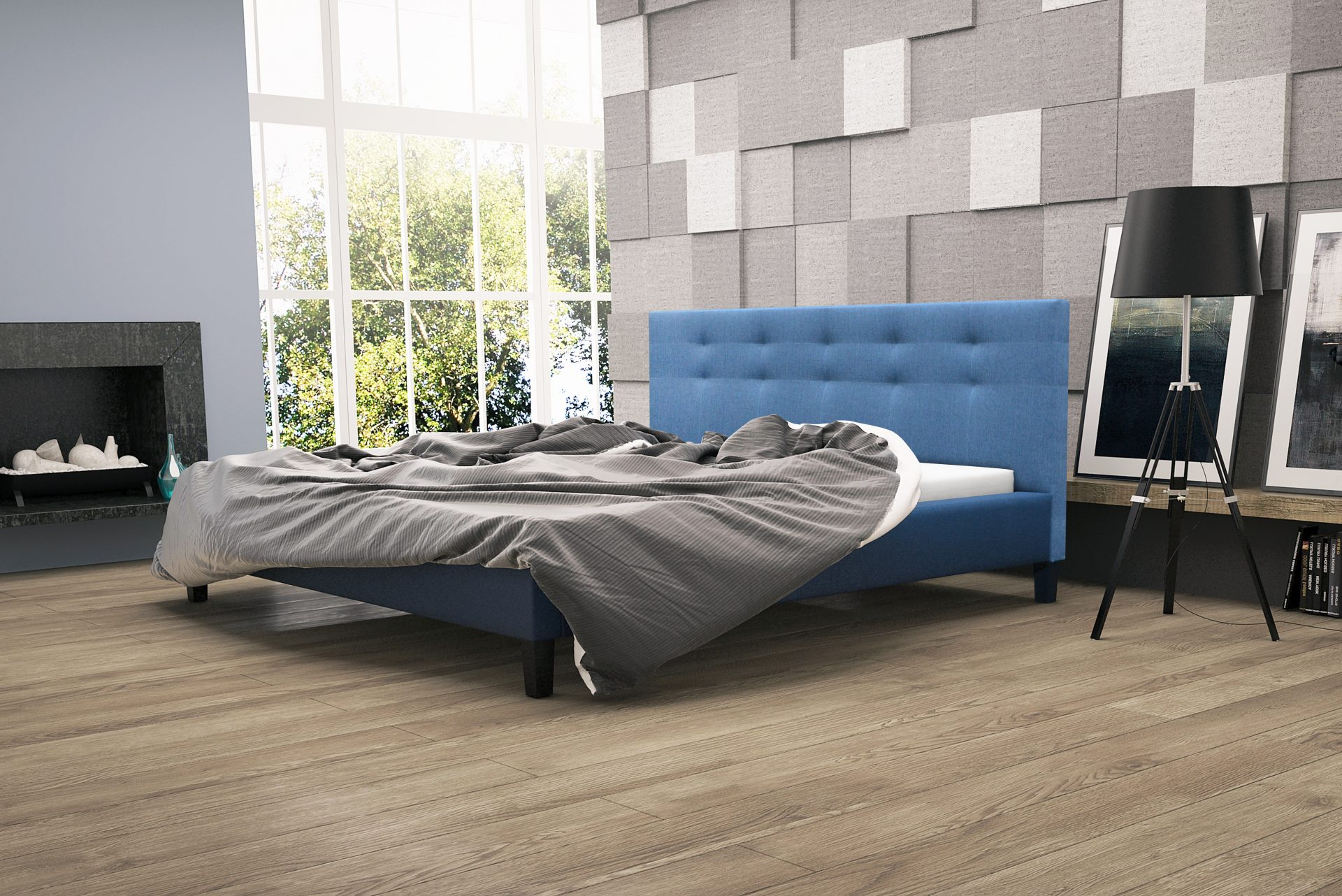 Łóżka tapicerowane z materacem